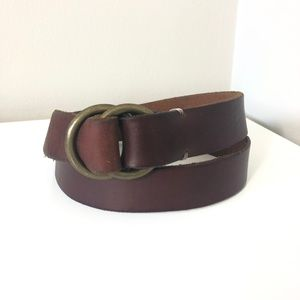 L.L Bean Brown Leather Bronze Circle Buckle Belt M